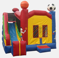 Sports Themed Combination Inflatable slide with a basketball and baseball in Stockbridge, GA