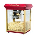 Red Popcorn Popping Machine  that makes tasty golden yellow goodness for kids parties in Atlanta